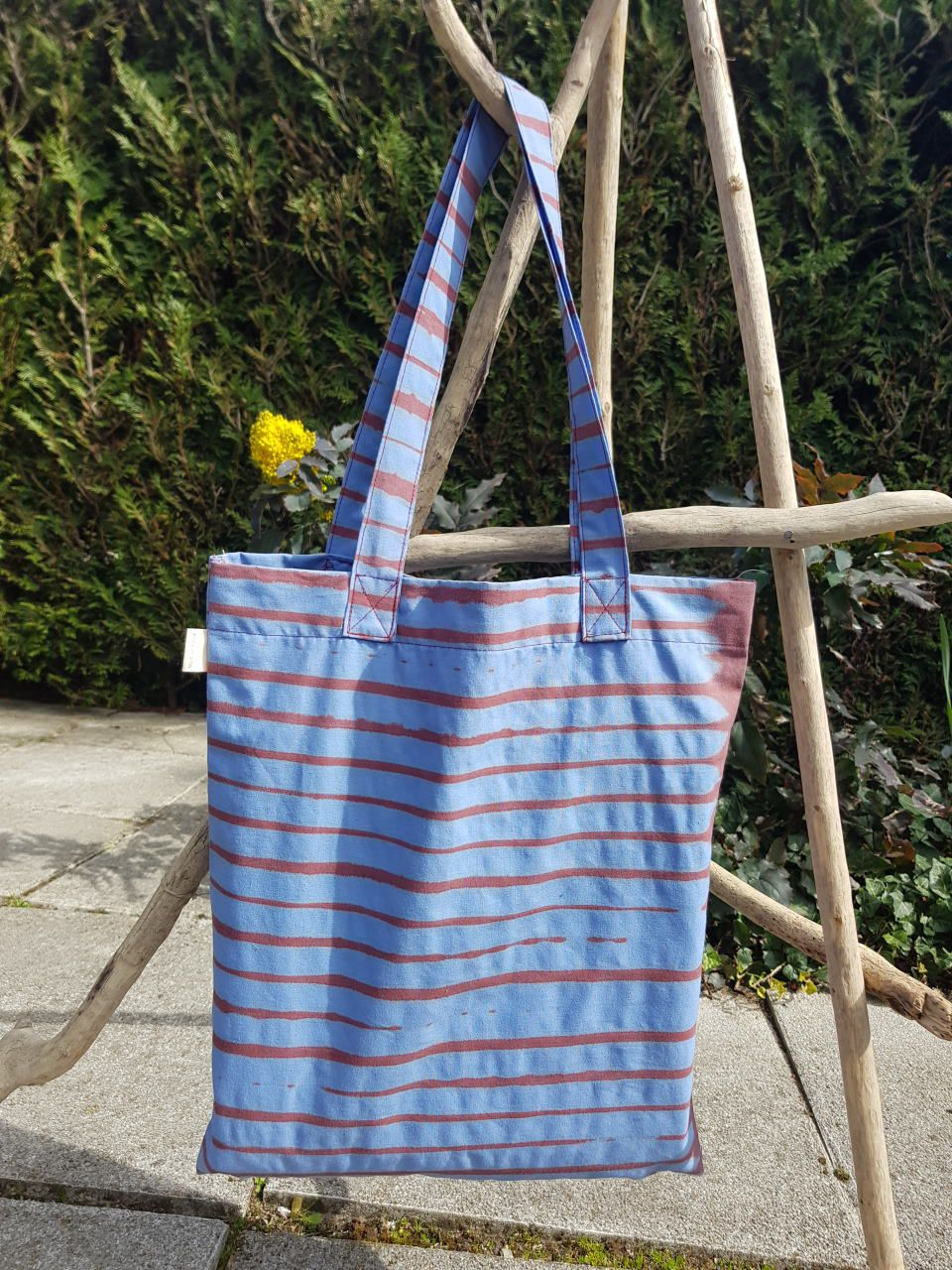Tote Bag rayé rouge